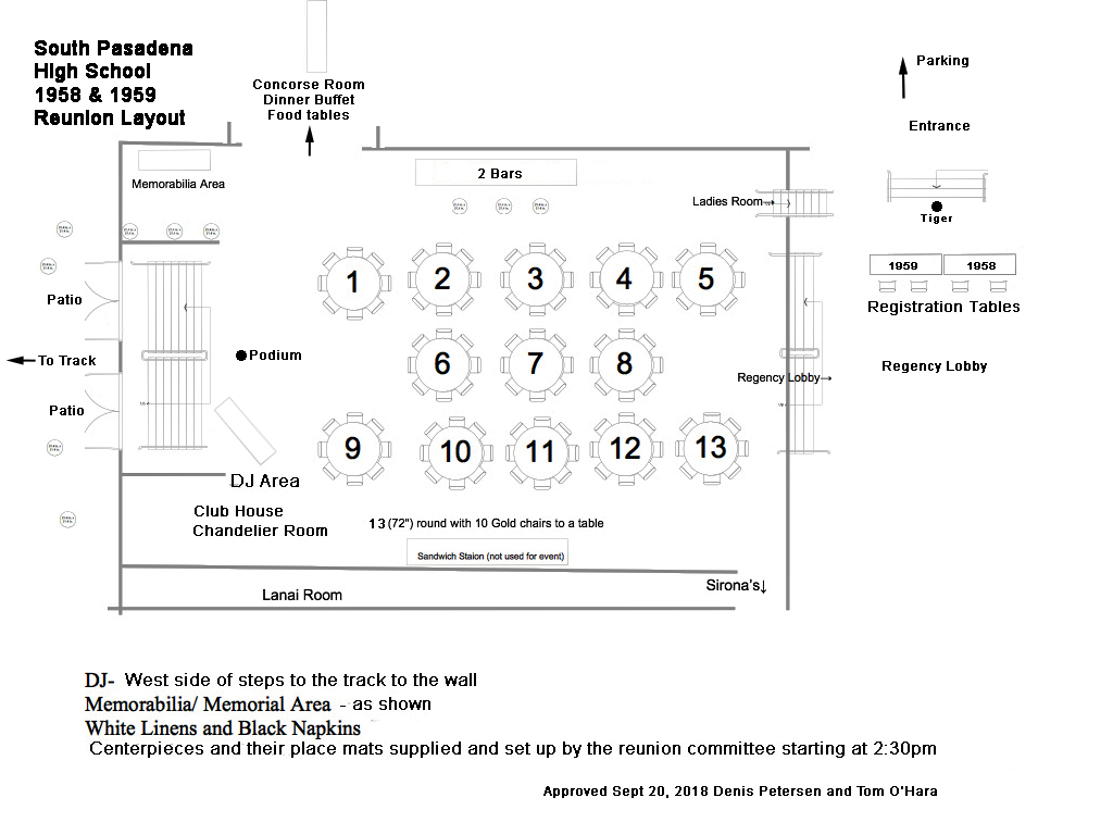 Club House Reunion Layout